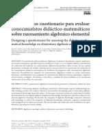 dieño de un cuestionario para evaluar conocimientos didacticomatematicos sobre razonamiento algebraico elemental.pdf