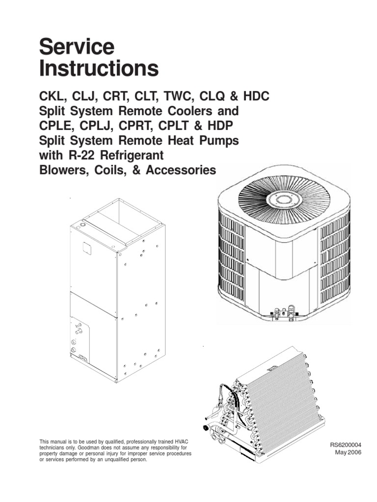 (Goodman) Service Instructions-RS6200004 (181 Pages) | Heat Pump |  Thermostat