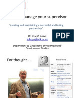 Managing Your Supervisor - Dr Yoseph Araya