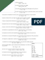 Lista de Exercícios - Estequiometria