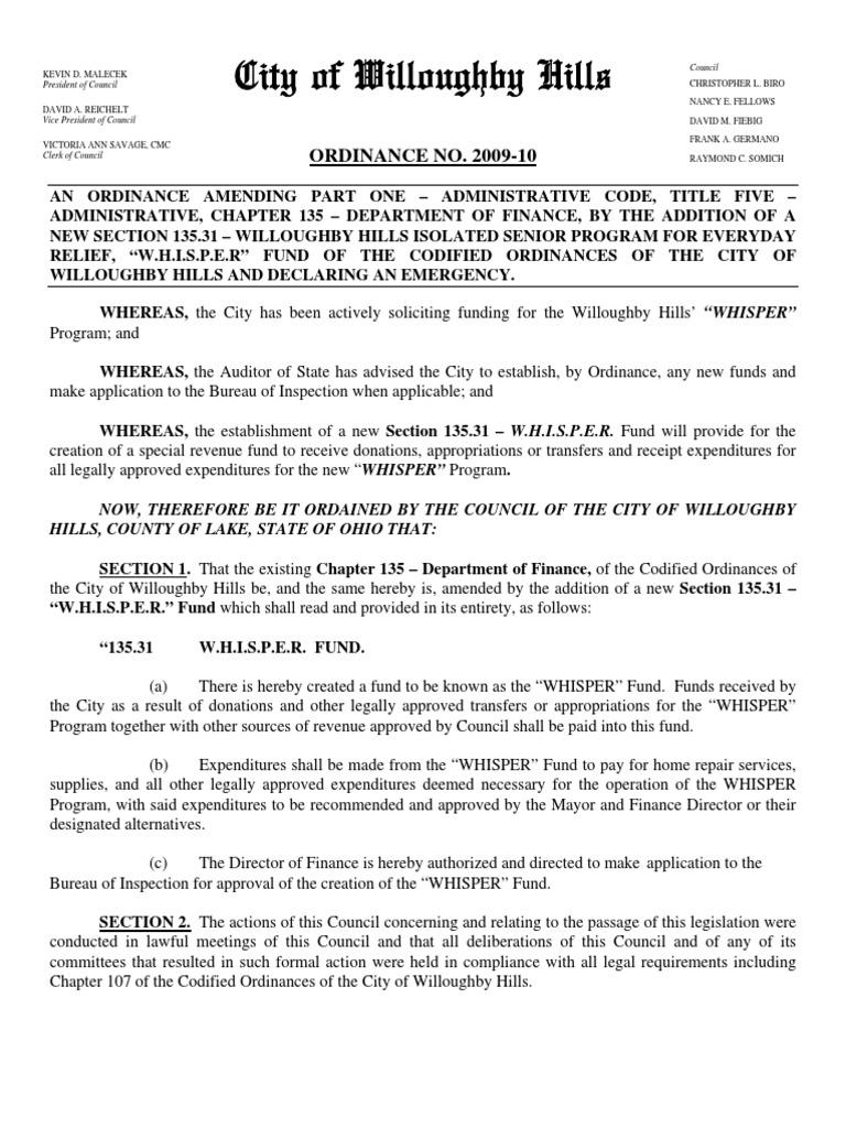 Willoughby Hills Ordinance 2009 10 Public Law Politics