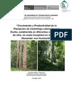 Crecimiento y Productividad de La Plantación de Cedrelinga Catenaeformis Ducke,