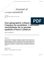 Une géographie critique de l'espace du quotidien. L'actualité mondialisée de la pensée spatiale d'Henri Lefebvre