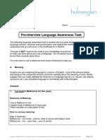 TESOL Pre Interview Language Awareness Task 2016