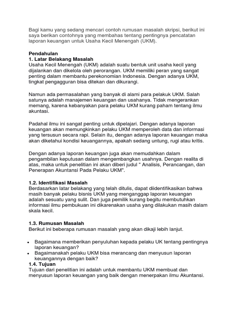 Contoh Rumusan Masalah Skripsi Manajemen Keuangan Pejuang Skripsi