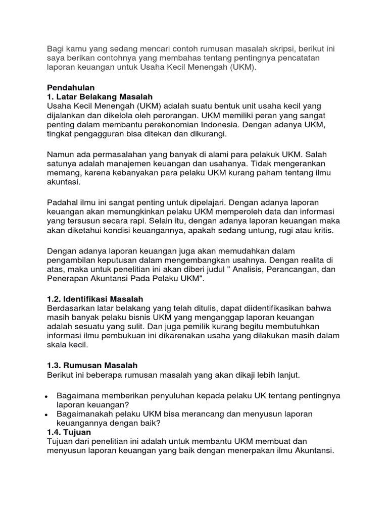 Contoh Makalah Laporan Keuangan Umkm