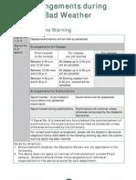 Appendix 3-Arrangements During Bad Weather