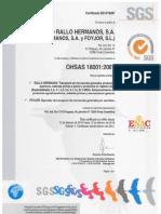 OHSAS 18001 Grupo Rallo Valido Hasta Febrero 2018