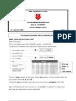 2009 C2 Chem H2 Prelims Paper1_QuestionPaper