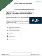 Optimization of Reservoir Operation Using Linear Program Case Study of Riam Jerawi Reservoir Indonesia
