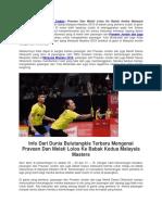 Praveen Dan Melati Lolos Ke Babak Kedua Malaysia Masters 2018.