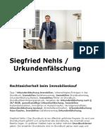 Siegfried Nehls / Immobilien. Urkundenfälschung