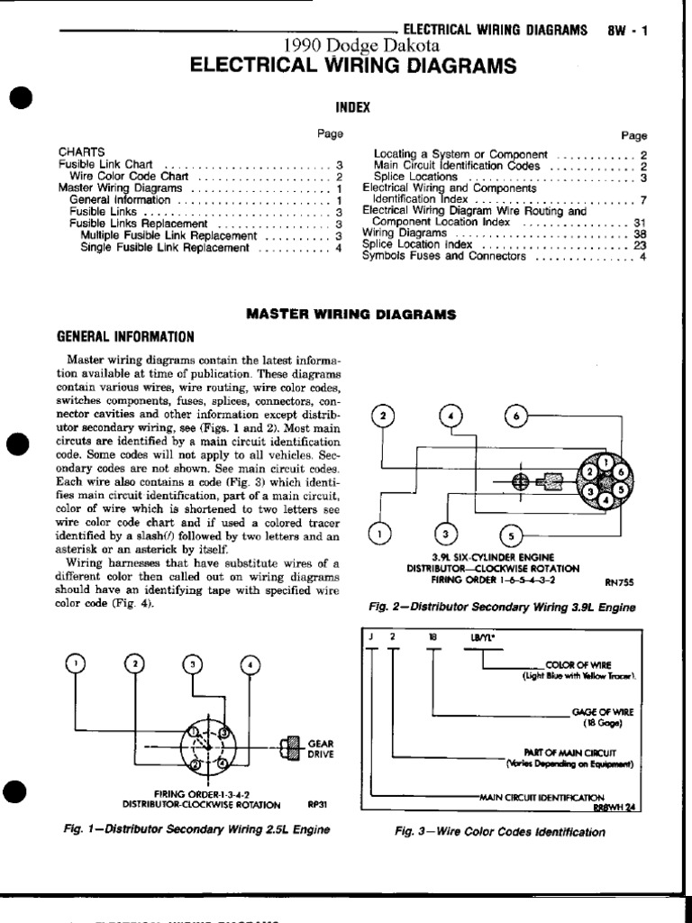 1990 Dodge Dakota Electrical Wiring Diagram Diagrams 90 94