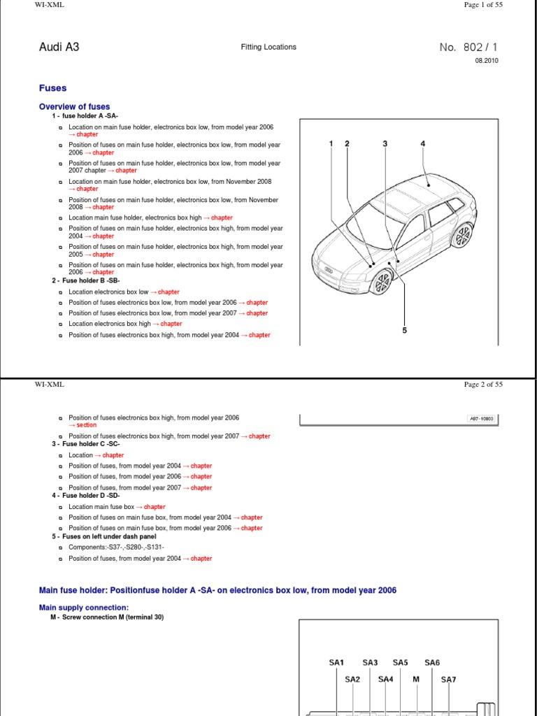 2006 Audi Quattro A4 2 0 Fuse Diagram