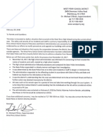 West Perry letter to parents