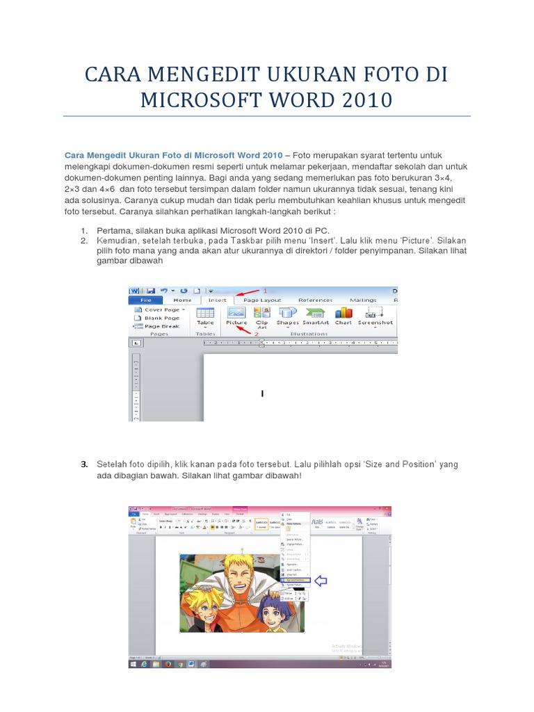 Cara Membuat Ukuran Foto 3x4 Di Microsoft Word 2010 ...