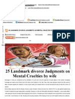 25 Landmark Divorce Judgments on Mental Cruelties by Wife