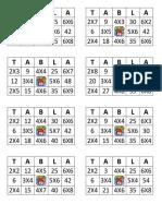 Bingo en Tablas de Multiplicar