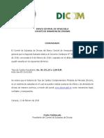 Comunicado del BCV sobre los resultados del Dicom