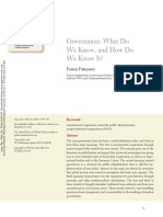 Governance. What Do We Know, And How Do We Know It
