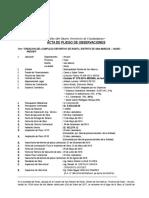 Acta de Pliego de Observaciones de La Obra Complejo Deportivo de Runtu