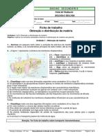 Ficha trabalho- Obtenção e Distribuição Da Matéria