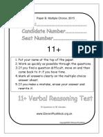 Verbal11+PaperB2015
