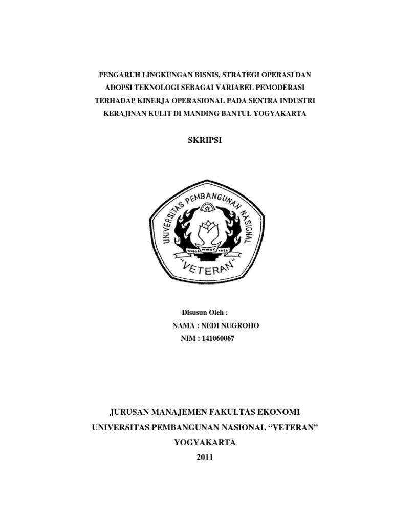 Contoh Soal Dan Materi Pelajaran 2 Contoh Skripsi Operasional