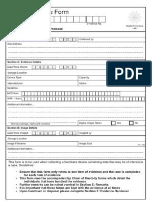 Chain Of Custody Form Digital Forensics Data Management
