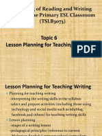 TOPIC 6 Lesson Planning for Teaching Writing