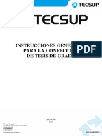 Instrucciones Generales Para La Confección de Tesis de Grado