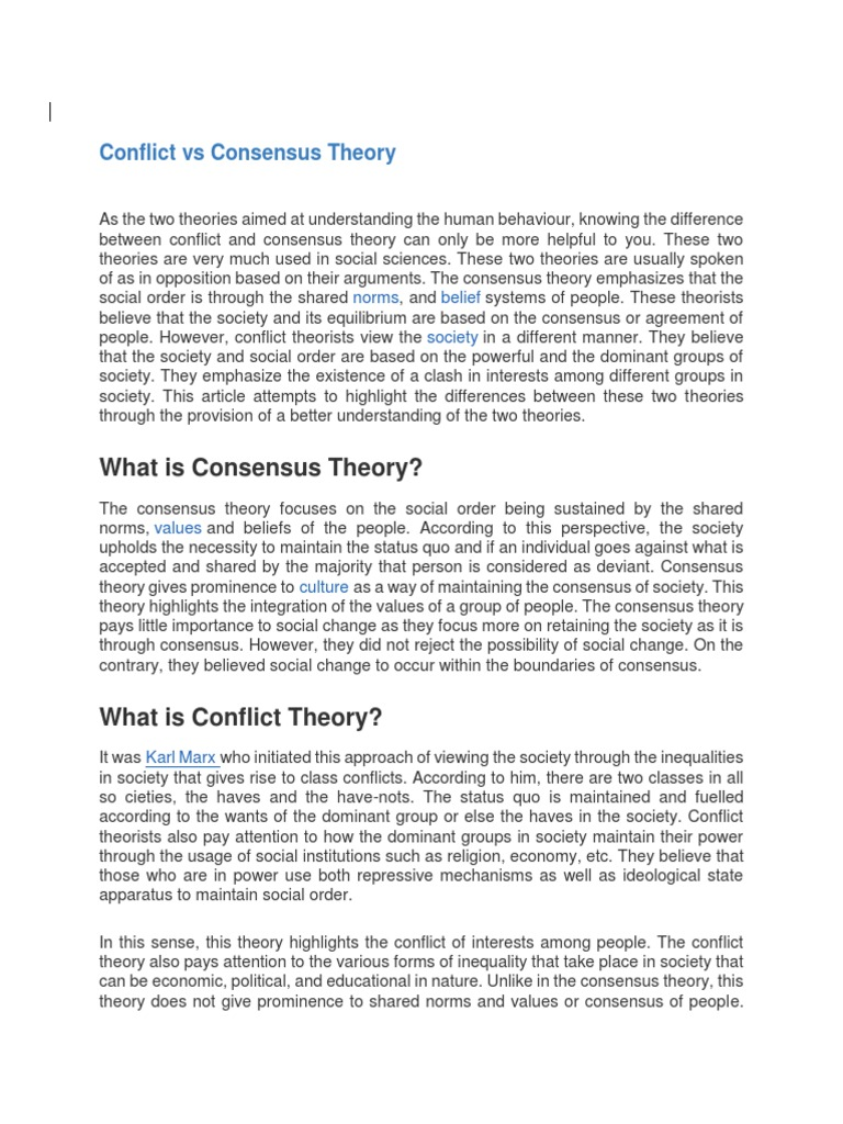 consensus and conflict theory in education