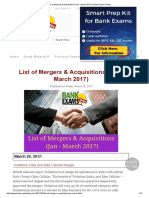 List of Mergers & Acquisitions (Jan - March 2017) _ Bank Exams Today