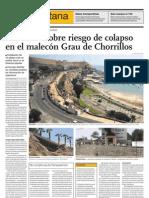 Advierten sobre riesgo de colapso en el Malecón Grau