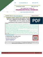 FORMULATION AND EVALUATION OF MUCOADHESIVE BUCCAL TABLETS OF KETOROLAC TROMETHAMINE