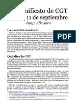 El manifiesto de CGT para el 11 de septiembre