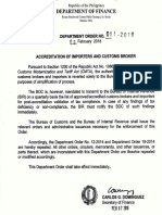 Finance Department Order 011-2018