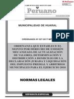 Ordenanza que establece el monto por derecho de emisión mecanizada de actualización de valores determinación y distribución a domicilio de la declaración jurada y liquidación del Impuesto Predial y Arbitrios Municipales para el Ejercicio 2018