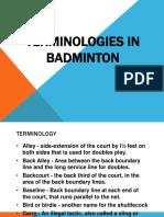 Terminologies in Badminton