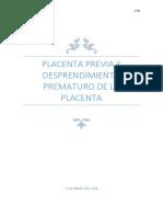 Placenta Previa y Desprendimiento Prematuro de La Placenta
