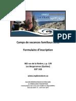 Formulaire Inscription Camps Familiaux 2018
