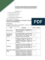 Lista de Cotejo Para Evaluar Proyecto de Investigación