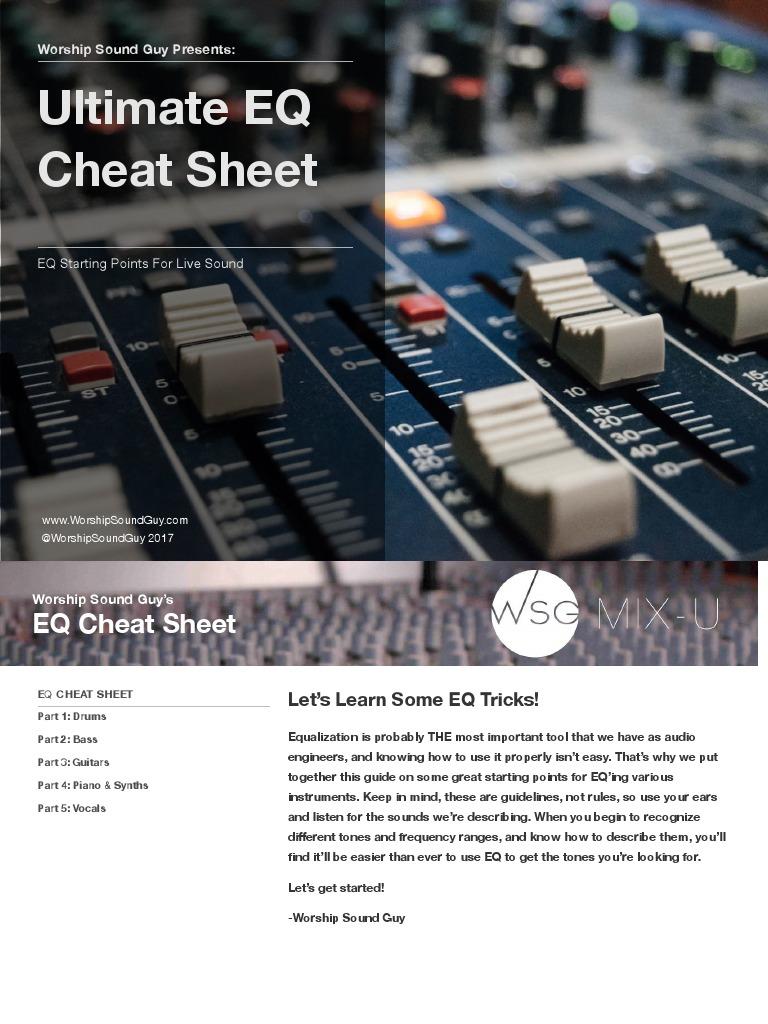 Eq Cheat Sheet Full Equalization Audio Drum Kit