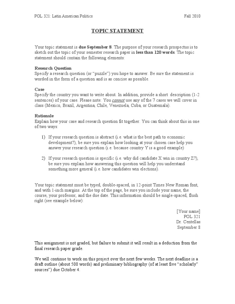 Pol 321 topic statement guidelines ccuart Images