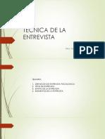 TÉCNICA DE LA ENTREVISTA