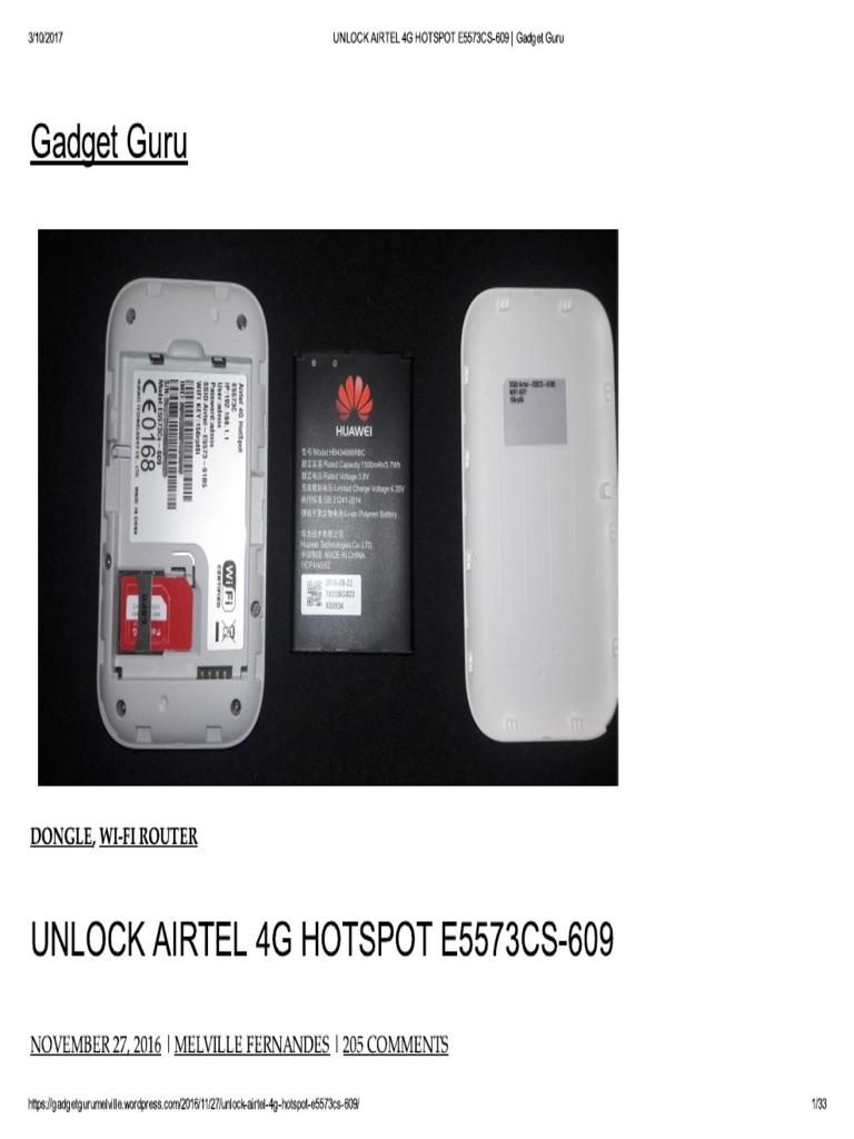 UNLOCK AIRTEL 4G HOTSPOT E5573CS-609 _ Gadget Guru pdf