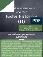 Análisis de textos históricos (y II)
