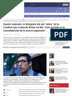 2018-02-13 Daniel Andrade, Ex Dirigente Del Ala Ultra de La Confech Que Acaba de Fichar en RD