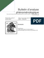 Bulletin d'analyse phénoménologique-III-1-2007