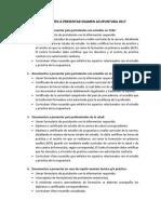 Antecedentes a Presentar Examen Acupuntura 2017